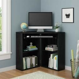 Corner Desk with Keyboard Tray and Shelves Home Office Space