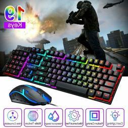 Ergonomic Wired USB Gaming Keyboard Mouse LED Backlit Mice F