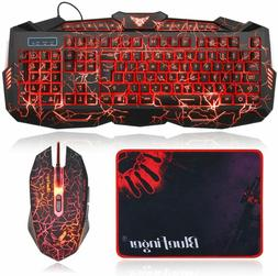 Gaming Led Keyboard & Mouse Combo Mouse USB Wired PC Accesso