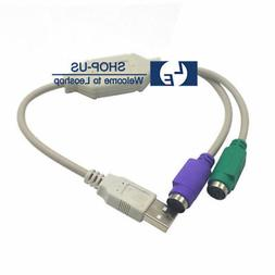 New Generic PS/2 PS2 to USB Male Converter Adapter Cable for
