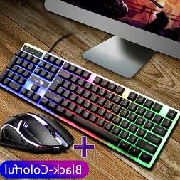 Keyboard Mechanical And Mouse Combo Gaming Led Set Compatibl