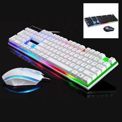 NEW! Wired LED Backlit Ergonomic Gaming Keyboard + Gamer Mou