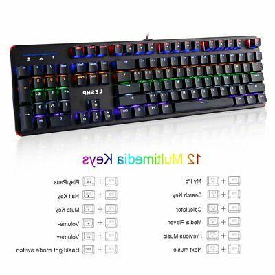 Computer Desktop Gaming Keyboard Wired RGB Feel Led Light Backlit