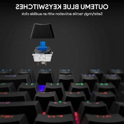 Gaming Keyboard Mechanical RGB Backlit Blue Water-Resistant 13 Mode