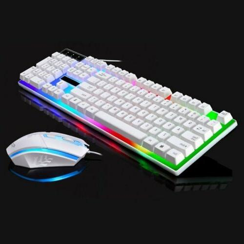 Computer Gaming RGB Keyboard And Mouse LED Colorful Backlit