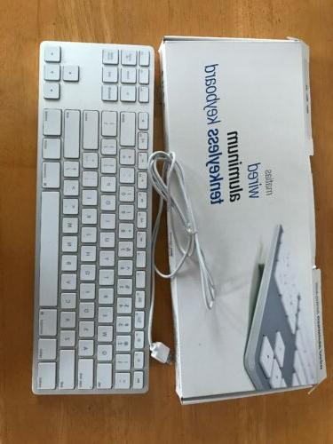 wired aluminum tenkeyless keyboard for mac silver