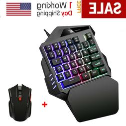 Mini One Hand Gaming Keyboard Single Hand Game Keypad Mouse