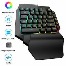 Mini One-Handed Gaming Keyboard RGB LED Backlit USB Wired Ga