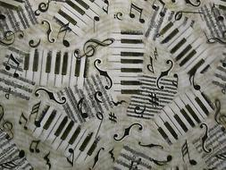 MUSIC LINES NOTES SMALL KEYBOARD BLACK WHITE CREAM COTTON FA