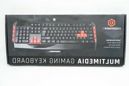NEW CyberPowerPC Multimedia Gaming Keyboard Black Red Wired