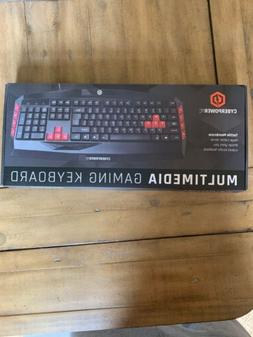 NEW CyberPowerPC Multimedia Gaming Keyboard Black Red Wired