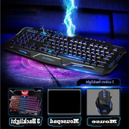 RGB Gaming Mechanical Keyboard + Mouse, Wired Membrane Keys