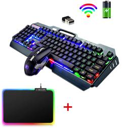 Wireless Rainbow Backlit Gaming Keyboard and Mouse Set Mice