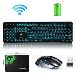 Wireless Rechargeable LED Backlit Gaming Keyboard and Mouse